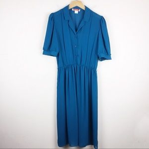Vintage collared midi dress secretary shirt dress